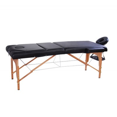 "Soozier 91"" 3 Section 4"" Pad Foldable Massage Table Spa Facial Couch Bed w/ Carry Case Black"