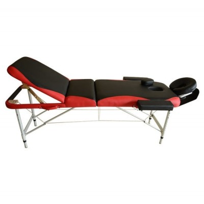 "HOMCOM 700-039RD 73"" 3 Section Foldable Massage Table Professional Salon Spa Facial Couch Bed (Black/Red)"