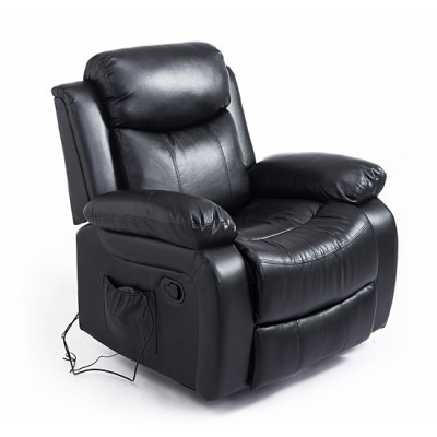 HOMCOM Deluxe Electronic Heated Massage Sofa Recliner Chair Leather Lounge, Black