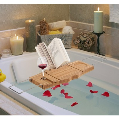 HomCom 834-070 Adjustable Bamboo and Stainless Steel Bathtub Caddy Bath Shelf Expandable Tray with Wine Holder Book Rack