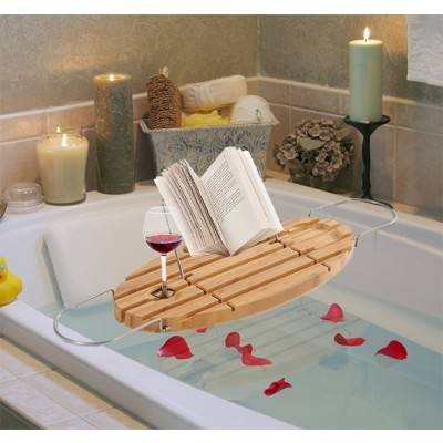 HomCom 834-071 Adjustable Bamboo and Stainless Steel Bathtub Caddy Bath Shelf Expandable Tray with Book Rack