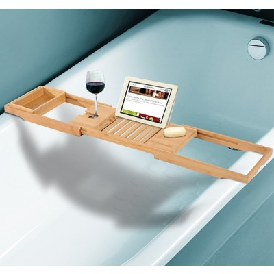 HomCom 834-072 Adjustable Bamboo Bathtub Caddy Bath Shelf Expandable Tray with Wine Holder Book Rack