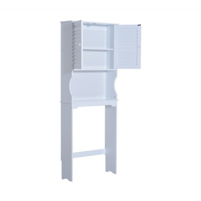 HomCom 834-076 Over Toilet Cabinet Storage Unit Space Saver Bathroom Furniture with Shelf, White