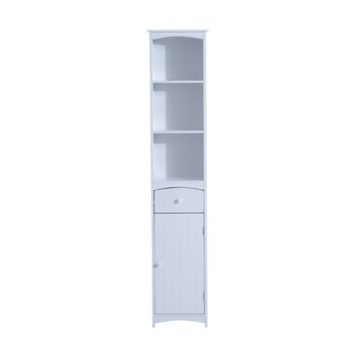 HomCom Tall Wooden Bathroom Cabinet Linen Tower Bath Storage Unit Space Saver Bathroom Furniture, White