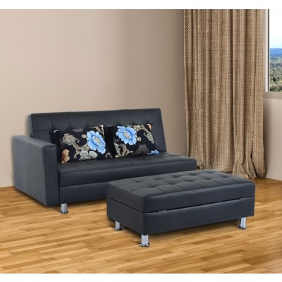 HomCom Convertible Corner Sofa Bed Loveseat Couch Ottoman Stool Home Furniture Set with Pillows Black