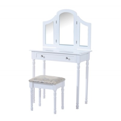 HomCom Luxury Wooden Vanity Dressor Set Dressing Table and Stool Make-up Furniture with 3 Mirrors (White)