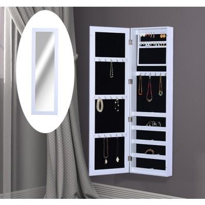 HOMCOM Mirrored Hanging Wall Door Mount Jewelry Cabinet Organizer Storage Armoire Case, White