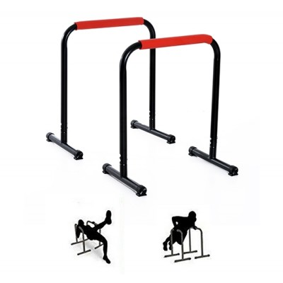 Soozier Set of 2 Portable Dip Bars Pull Push Up Stand Bars Home Gym Strength Training