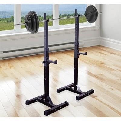 Soozier Adjustable Stable Squat Stand Portable 2 Bars Holder (Black/Grey)