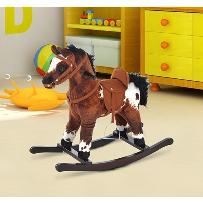 Qaba Children Kids Rocking Plush Horse Toy Pony Wooden Ride Rocker Sound, Brown