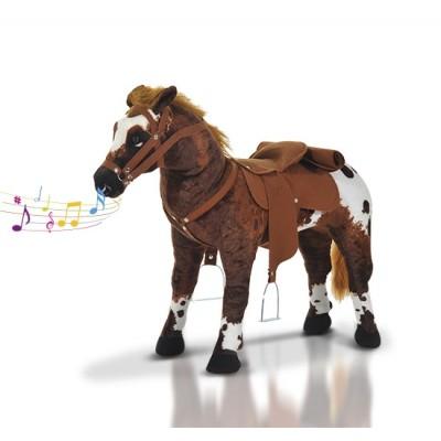 Qaba Children Cowboy Standing Plush Horse Soft Ride On Toy Cuddly Pony w/ Neighing Sound, Brown
