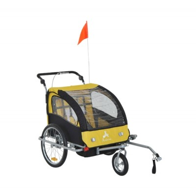 Aosom 3-in-1 Double Child Baby Bike Trailer Stroller & Jogger (Black/Yellow)
