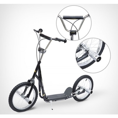 "Homcom Adult Teen Kick Scooter Kids Children Stunt Scooter Bike Bicycle Ride On 16"" Pneumatic Tyres (Black)"