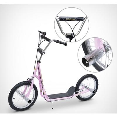 "Homcom Adult Teen Kick Scooter Kids Children Stunt Scooter Bike Bicycle Ride On 16"" Pneumatic Tyres (Pink)"