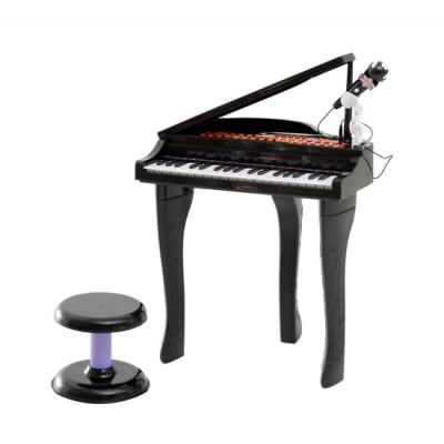 Qaba Mini Electronic Musical Piano 37 Key Keyboard Kids Toy Microphone Stool (Black)