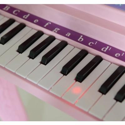 Qaba Mini Electronic Musical Piano 37 Key Keyboard Kids Toy Microphone Stool (Pink)