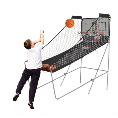 HOMCOM Double Shot Arcade Basketball Game Foldable Two Hoops Electronic Basketball System