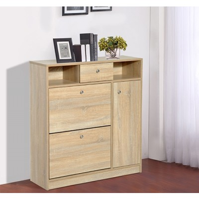 HomCom Wooden Shoe Storage Cabinet Entryway Hallway Shoe Rack Chest with Drawer Home Furniture White Oak