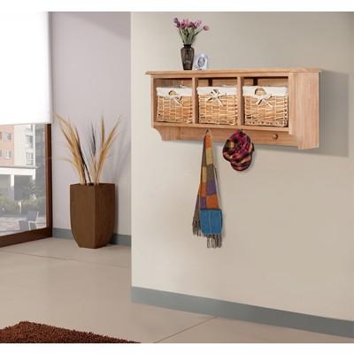 "HOMCOM 31"" Hanging Entryway Cubbie Shelf Storage Rack Organizer with 3 Basket and 3 Hooks (Light Brown)"