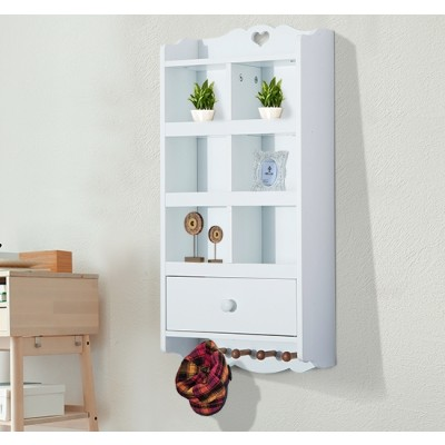 HOMCOM Wooden Wall Cabinet 6 Cubbies Drawer Bathroom Organizer Shelf with Hooks White
