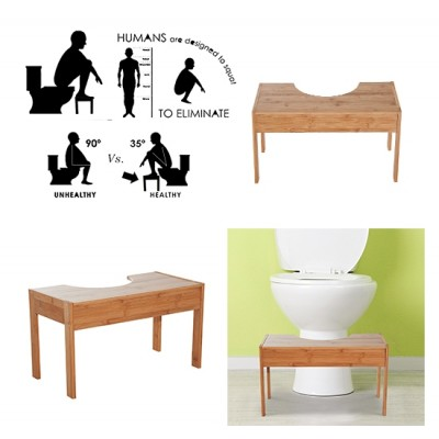 HOMCOM Bamboo Toilet Stool Proper Posture Step Bathroom Squat Aid Wood