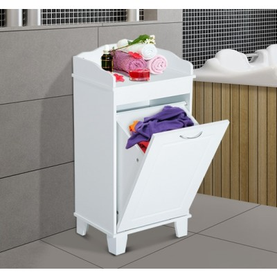 HOMCOM Wooden Launtry Hamper Bathroom Organizer with Tilt Out Basket White