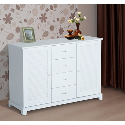 HOMCOM 47x16x31.5Inch Storage Casbinet with Free Standing 2 Doors 4 Drawer Organizer White