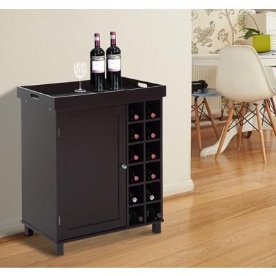 HOMCOM Wood Wine Cabinet with Removable Tray 12 Bottle Wine Rack Storage Shelf Deep Coffee