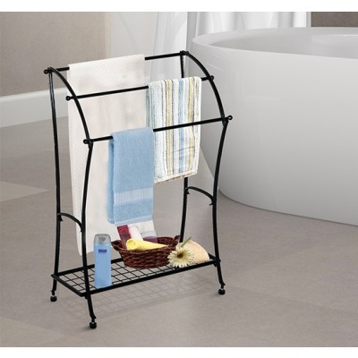 HOMCOM Bathroom Floor Towel Holder Free Standing Towel Rack Stand Black