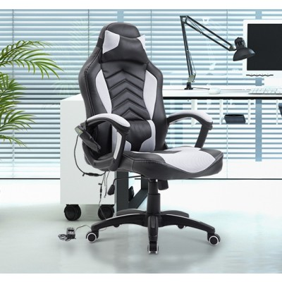 HOMCOM Ergonomic Massage Office Chair Heated Vibrating Swivel Computer Seat with Pillow and Lumbar Support (Black/White)