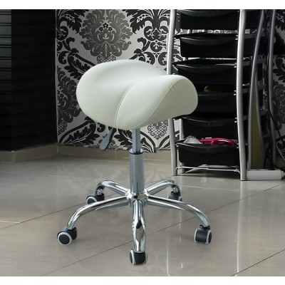 HOMCOM Adjustable Hydraulic Rolling Salon Stool Swivel Saddle Chair Spa Beauty Massage Seat Cream
