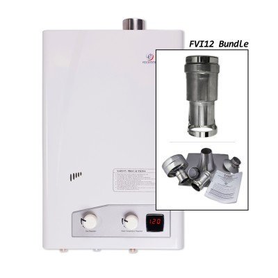 Eccotemp FVI12-LP Indoor Forced Vent Liquid Propane Tankless Water Heater Vertical Bundle