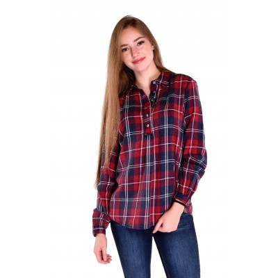 Ladies Long Sleeve Checkered Blouse in Navy