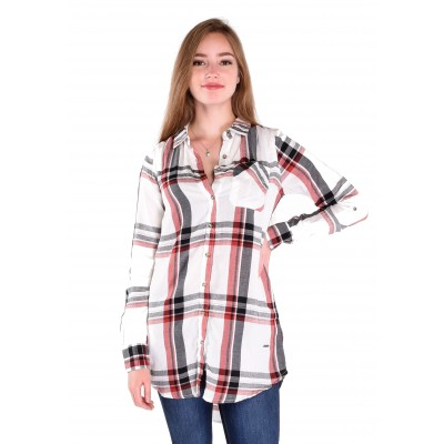 Ladies Long Sleeve Checkered Blouse in Off White