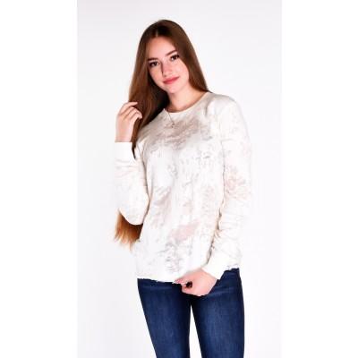 Kylie Knit Distressed Sweatshirt in Cream