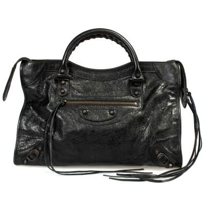 Balenciaga Classic City Lambskin Bag Black with Aged Brass Hardware, Medium
