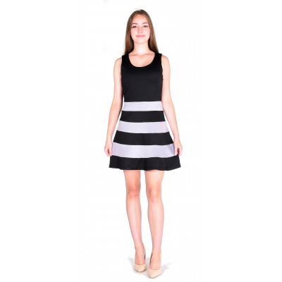 Striped Fit and Flare Dress in Black and Ivory