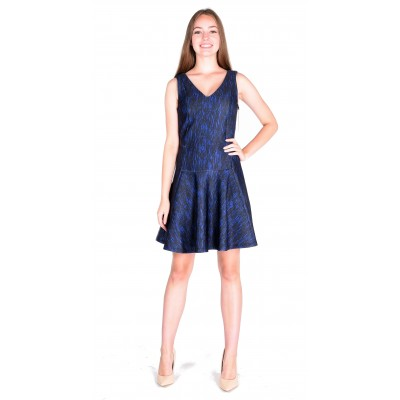 Sleeveless V-Neck Fit & Flare Scuba Dress