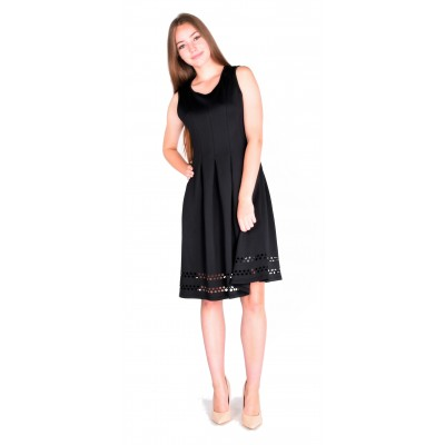 Scuba Fit and Flare Black Dress with Cutouts