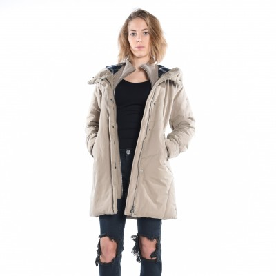Padded Parka With Knitted Collar