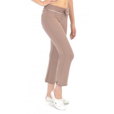 Bamboo Cropped Lounge Pants in Hot Chocolate