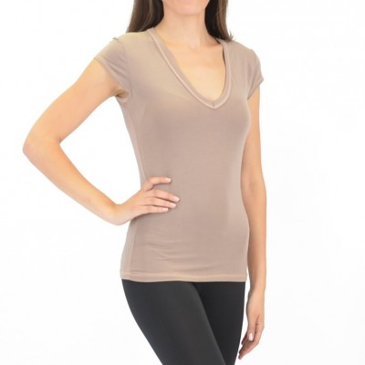 Bamboo V-Neck Tee in Taupe