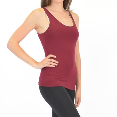 Bamboo Camisole With Shelf Bra in Ruby