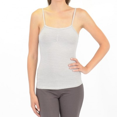 Bamboo Stripes Adjustable Strap Cami in Charcoal and Ivory