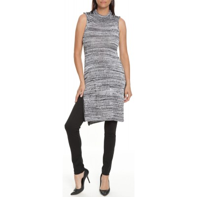 Sleeveless Sweater Dress in Salt N Pepper