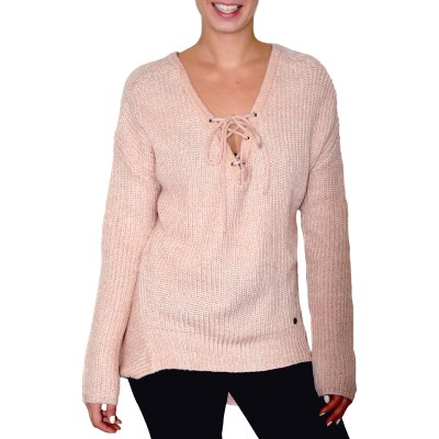 Long Sleeve Loose Ribbed Knit Sweater in Winter Blush