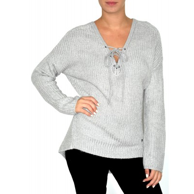 Long Sleeve Loose Ribbed Knit Sweater in Moon