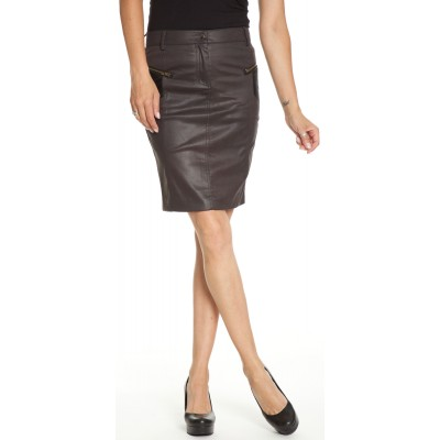 Pencil Skirt With Suede Patches in Black