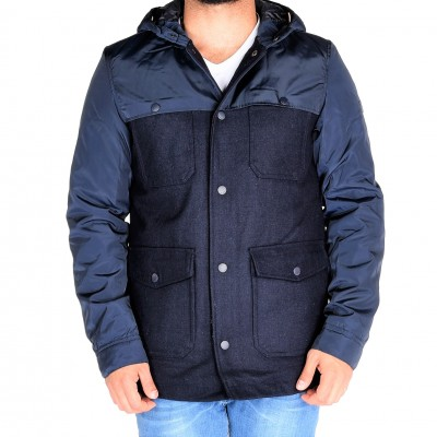 Wool Combo Puffer, Navy