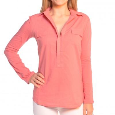 Ladies Short Sleeve V-Neck Shirt in Grapefruit